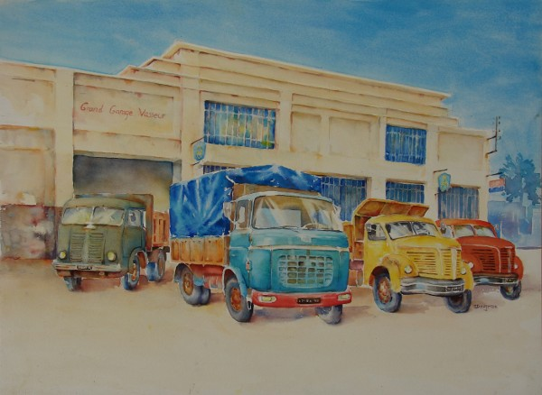 garage Berliet aquarelle