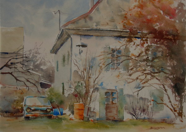 maison de village.Aquarelle.